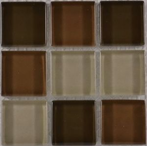 Product ID:OPUS18 Miki 1X1 Glass Blend Brown Mosaic #Profiletile