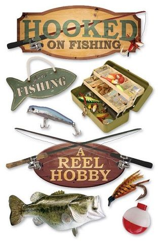 Hooked on Fishing 3D Scrapbooking Stickers