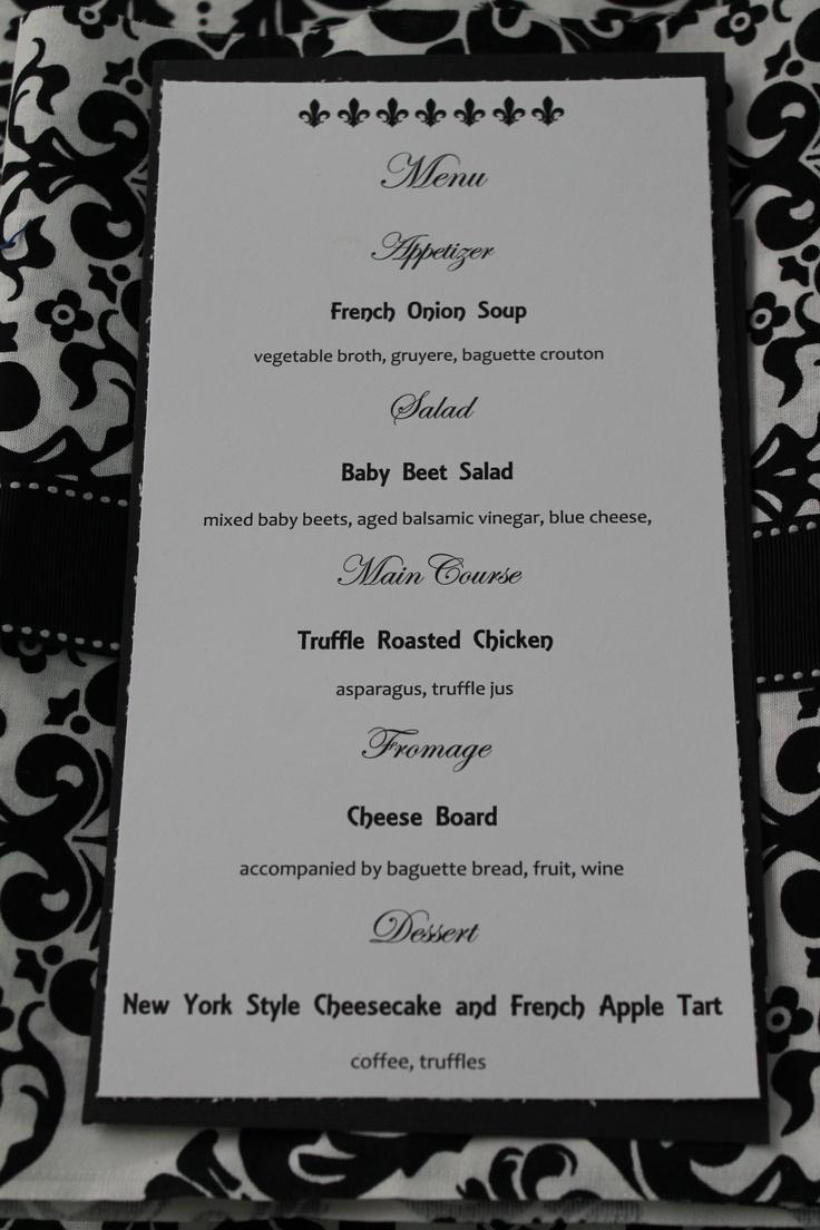 Elegant wedding dinner menu ideas menu cards holiday for Ideas for dinner menu