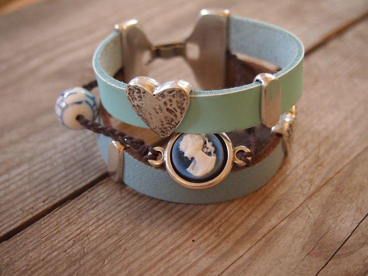 #armband #zomer #sieraden #workshop #leer #blauw
