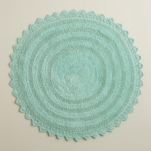"One of my favorite discoveries at WorldMarket.com: Harbor Blue Round Bath Mat -- use a ""kid's floor mats"""