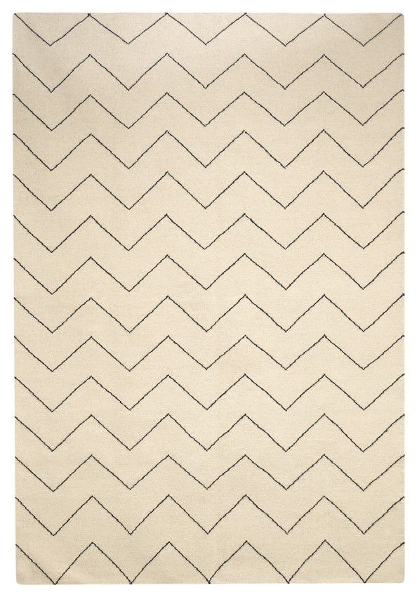 Dhurry Wool Zigzag - Off White / Navy 180 x 270cm