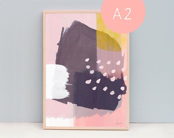 A2 Art Poster Abstract Art Abstract 95  Winter Life  Blue
