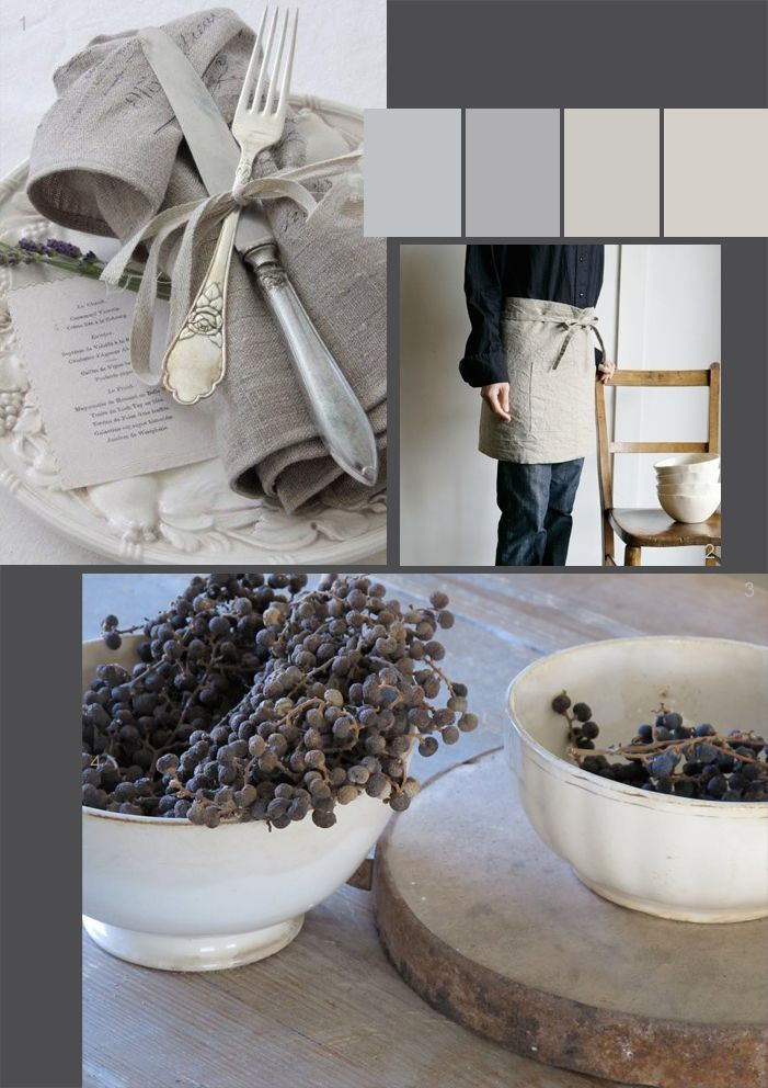 Country table settings in soft shades of grey and neutral