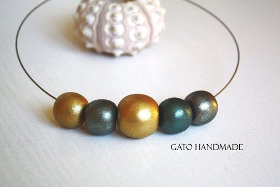 Unique golden eye necklace/Goldmade necklace/Polymer by GATODesign