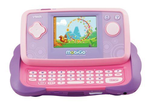 VTech - MobiGo Touch Learning System - Pink by V Tech. $44.95. Amazon.com                VTech's MobiGo Touch Learning System is an interactive learning device that uses a touchscreen and keyboard to control gameplay. Designed to encourage learning and the development of dexterity skills, the MobiGo device brings modern handheld technology to young users. Whether it's adding numbers, spelling words, solving problems, or spotting the differences between similar objects, the ...