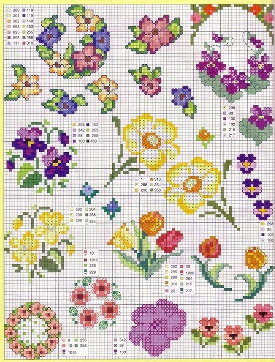 Violets, assorted flowers