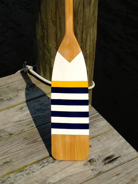 HandPainted Wooden Paddle Nautical White w/ Navy by HBdesigns03, $75.00
