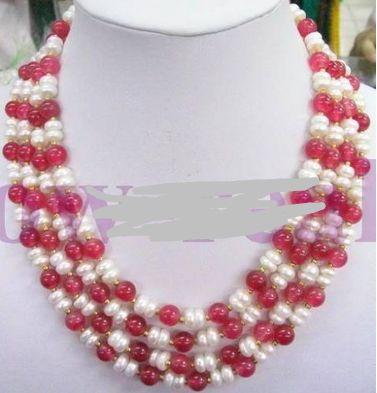 Huij 001079 4 STRANDS азии ювелирные изделия нефрита и жемчужное ожерелье из бисера