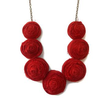 Rosette Necklace Red now featured on Fab.