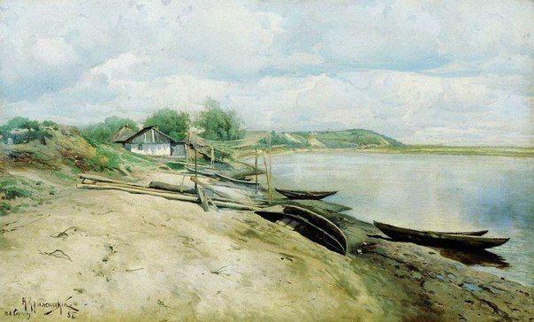 Константин Крыжицкий. Хутор на Днепре (Рыбачья пристань) 1885