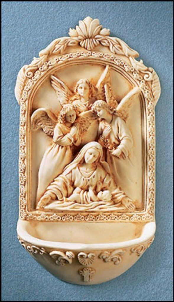 Holy Water Font Mary and Angels - love the idea of having a font at the door like in church.