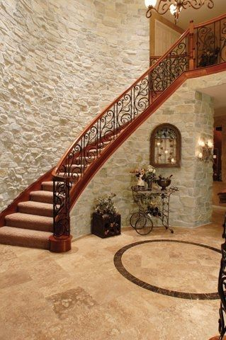 Beautiful Stone Veneer Accented Staircase!   ok - maybe not veneer in a dream home, but...