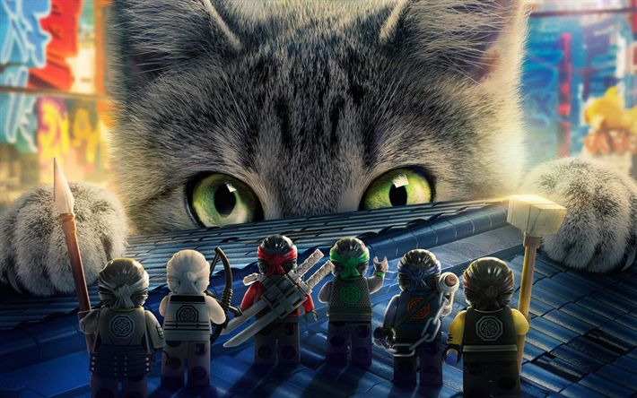 Lataa kuva LEGO Ninjago Elokuva, kissa, juliste, 3d-animaatio, 2017 elokuva