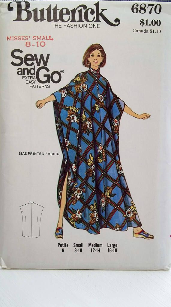 d034a41990f7d Retro 70 s Misses  Caftan Butterick 6870 Vintage Sewing Pattern ...