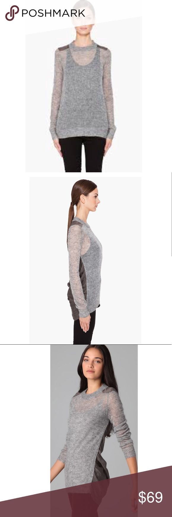 "Theory Josetta Picturesque Mohair Knit Top M This crew-neck mohair Theory cute sweater features a sheer chiffon back panel. Ribbed edges and asymmetrical hem.  Brand new with tags Color: Silver Heather/Moss (its like a metallic gray color) Long sleeves  Semi-sheer Length: 29"" (from front shoulder) Back length: 33"" Fabric: mohair/silk chiffon (50% super kid mohair/43% polyamide/7% extra-fine merino wool) doesn't come with an inner camisole. Back panel: 100% silk. Dry clean. Imported Style…"