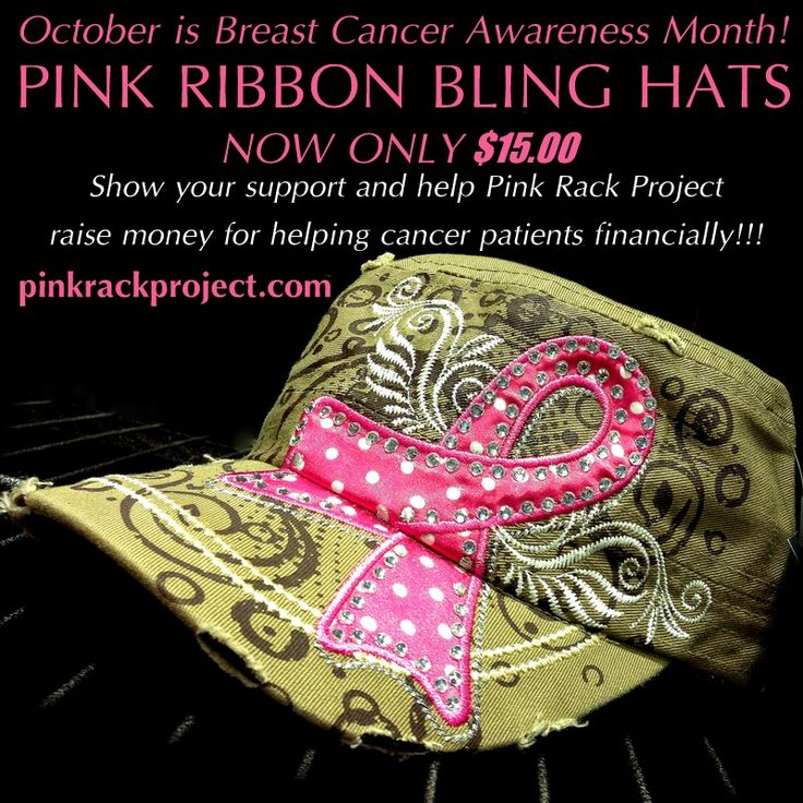 Show your support and make a difference today in the lives of those who are battling breast cancer! PINK RIBBON BLING HATS ~ Only $15.00!!! Available in colors Khaki, Black, Camo, Chocolate, & Turquoise!!! Get yours today at www.pinkrackproject.com Together we can make a difference one rack at a time.  #breastcancerawareness #pinkrackproject #bling #pinkribbon #hats
