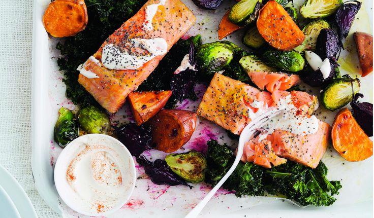 zalm met groente uit de oven
