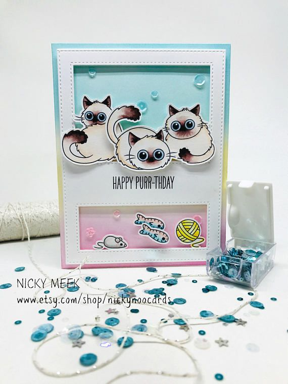 Fluffy Furball - Clearly Besotted.  Card by Nicky Noo Cards #nickynoocards