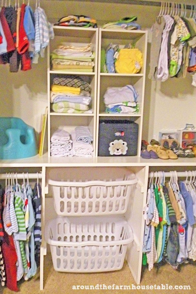 Closet idea. Thinking about a shelf/counter.Like the baskets maybe for out of season items!