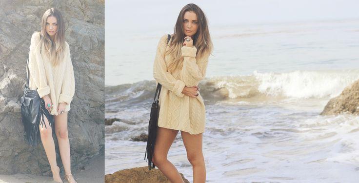 Bohemian Voyage – StyleGodis Photoshoot featuring vintage and new clothing in a bohemian, free-spirited setting: the Malibu rocks Oversized Chunky Sweaters