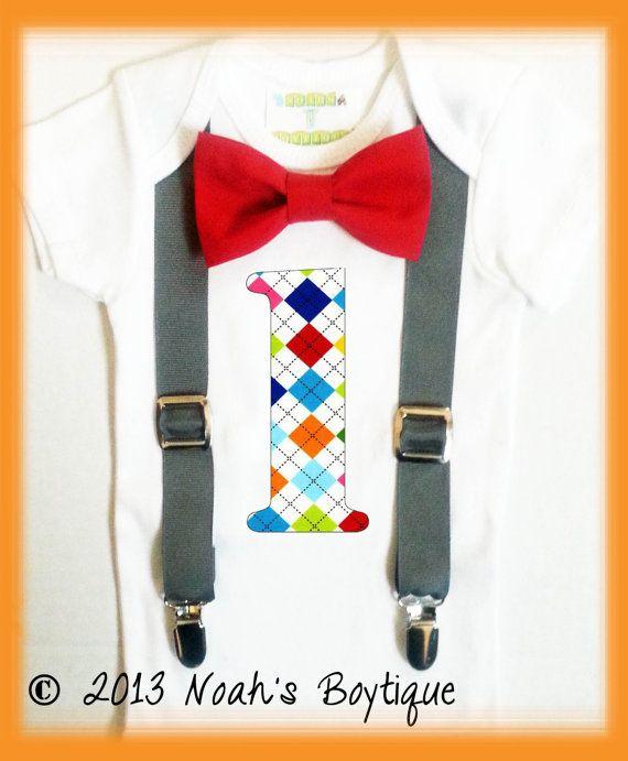 First Birthday Outfit Boy - Baby Boy - 1st Birthday Number One - Grey Suspenders Red Bow Tie - Argyle Number One - Colorful Birthday