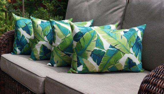 Tropical Outdoor STUFFED Pillow, Banana Leaf Decorative Lumbar Outdoor Pillow, Green Turquoise Tan C