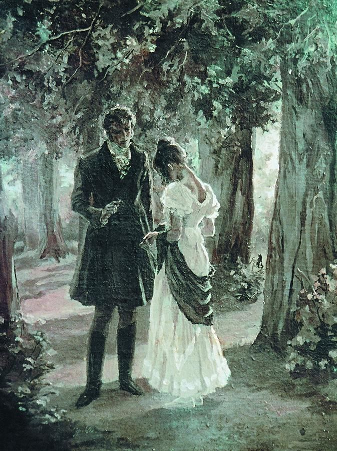 It's easy to see this as Pride & Prejudice, but it's actually an illustration by Lidia Timoshenko for Pushkin's Eugene Onegin.