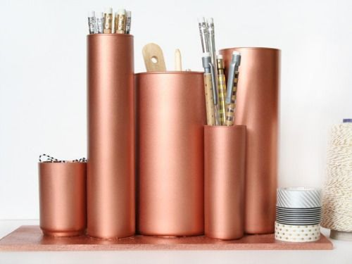 Take dollar-store glass vases and make a glam desk organizer with copper spray paint. #diy #crafts #31crafts31days
