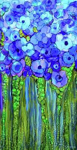 Alcohol Ink Mixed Media - Poppy Bloomies 2 - Blue by Carol Cavalaris