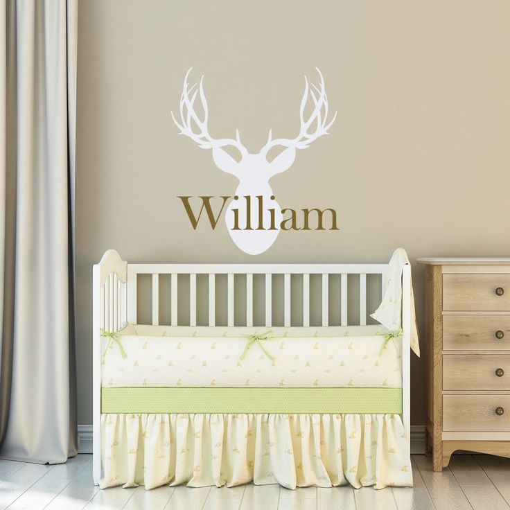 Custom Name Boys Bedroom Decor Wall Stickre Personalized Name Deer Head Hunting Wall Decal Art Nursery Room Wallapper NY-358