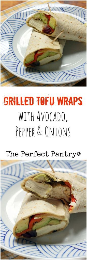 Grilled tofu wraps, stuffed with avocado, bell pepper, and onions: a perfect…