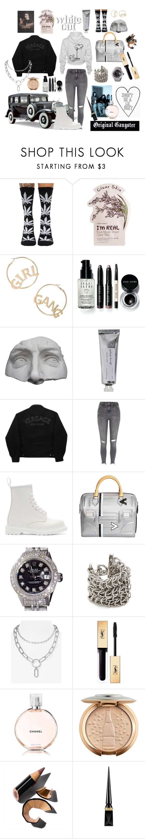 """""""b i jus' might. come for me i dare u."""" by hawarauf ❤ liked on Polyvore featuring HUF, TONYMOLY, BP., Bobbi Brown Cosmetics, Romanelli, Bloomingville, Versace Jeans Couture, River Island, Dr. Martens and Louis Vuitton"""