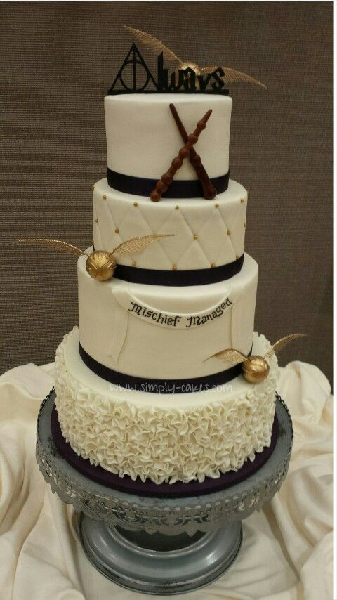 Harry Potter Wedding Cake Always Topper Golden Snitches And