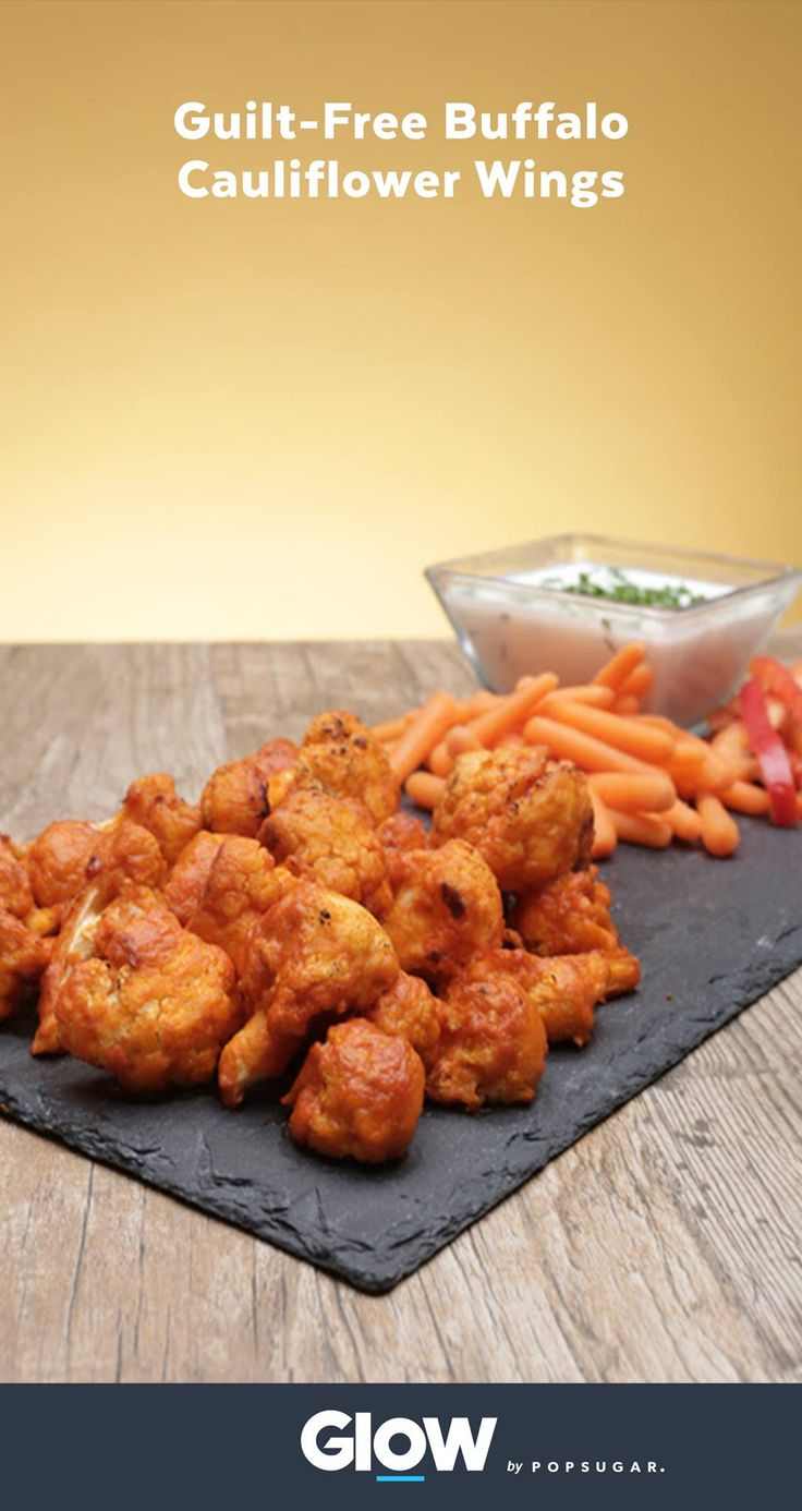 Cauliflower Buffalo Wings Are Your New Game-Day (and Life) Obsession and a guilt-free way to enjoy your favorite tailgate snack. The recipe is simple and only 117 calories a serving.