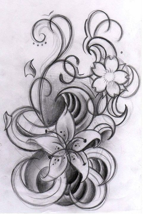This would look good with color on the lower forearm or to add to the lily I already have on my foot for my Mom.