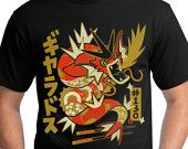SHINY Gyarados Pokemon T-Shirt Dragon Rolls
