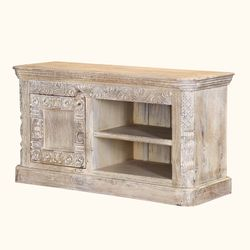 "Rehoboth 47"" Hand Carved Reclaimed 2 Shelf Rustic Media Console"