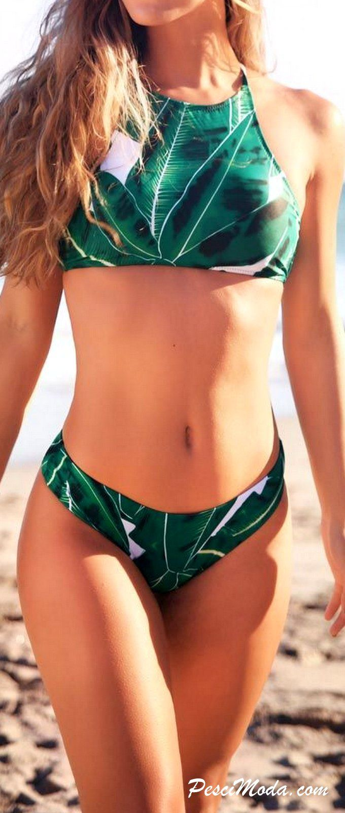 Product Description: Trendy Leaf Print High-Neck Women's Bikini Set Material: Polyester, Color: Green, Item: Swimwear, Style: Bikini Set, Season: Summer, Autumn, Collar: HighNeck, Waistline: Natural,