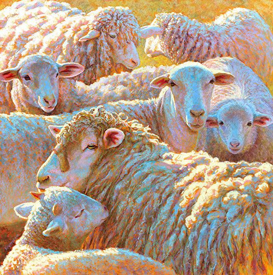 Counting Sheep by Rita Kirkman Pastel ~ 32 x 32 inches