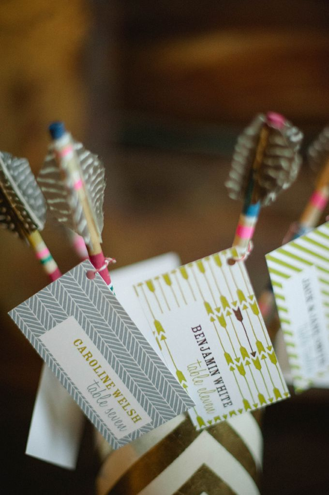 feather escort cards // photo by Christina Lilly
