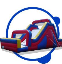 Huge rock climb slide. Kids have a blast climbing up the rock wall then slide down the huge slide. Smiles go on for days if you rent this bounce!! Can also be added to the obstacle course to make it an even bigger course