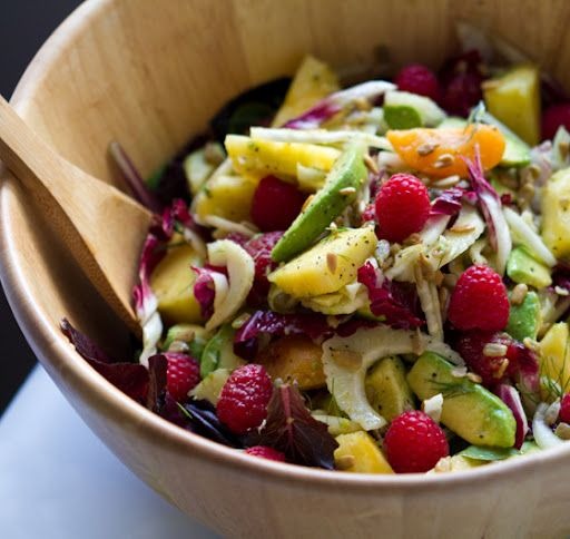 Summer Fruit Salad: Make a Summer fruit salad a little more savory by mixing in avocado, fennel, and radicchio and dressing it with a citrus coriander vinaigrette.