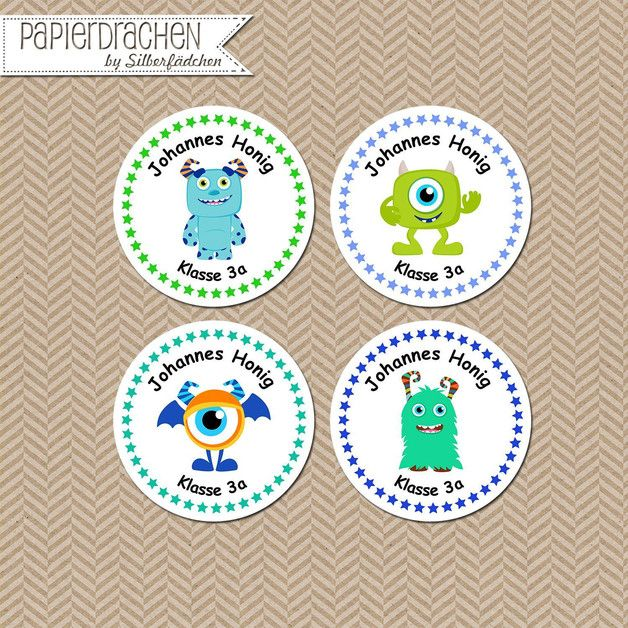 Aufkleber & Etiketten - 24 Aufkleber Namenssticker Schule (Set 12) - ein Designerstück von Papierdrachen bei DaWanda