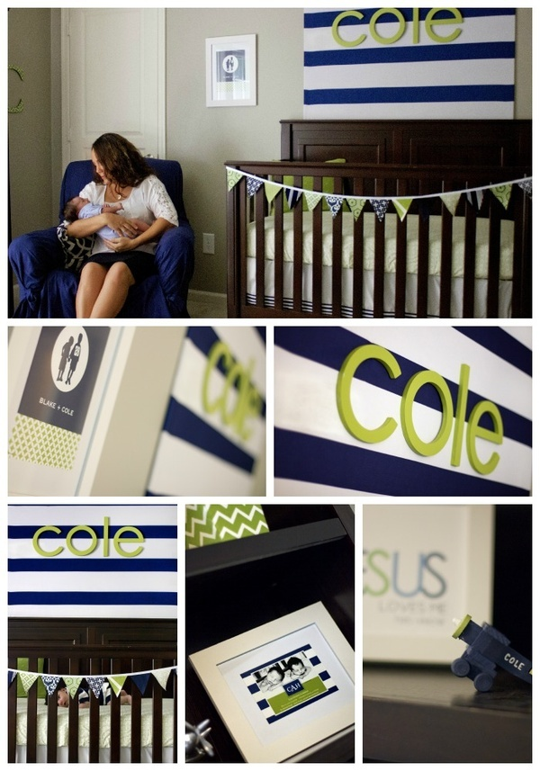 Navy & Green Nursery (add pink accents for a girl)