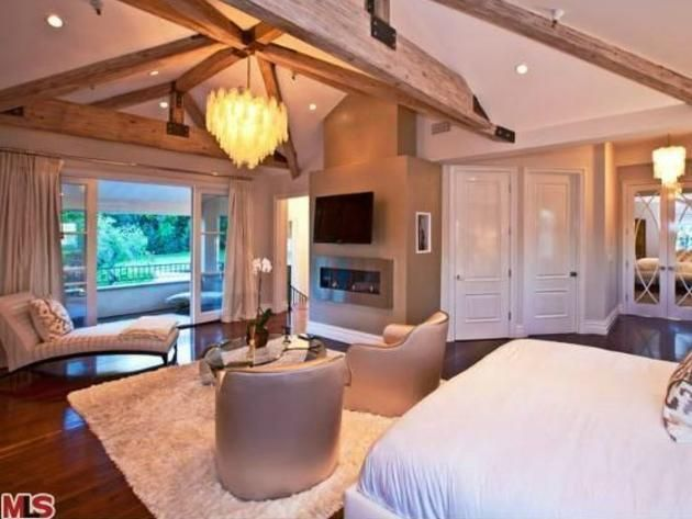 Kara DioGuardi's Los Angeles Home: Master Bedroom and Patio - what we could do with the huge master bedroom if we buy that home!