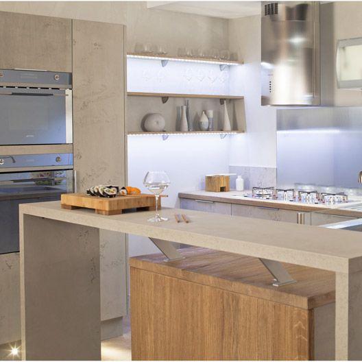 Meuble de cuisine d cor b ton delinia composition type loft cuisine meuble - Amenagement interieur meuble cuisine leroy merlin ...