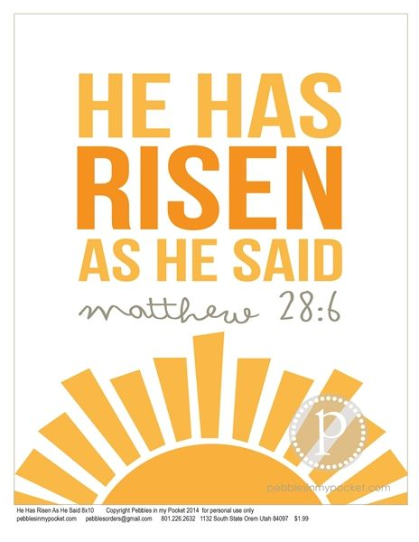 He has risen! Christ is alive people he's with us today. Keep in mind the true meaning of Easter! We have so much to be thankful for. Happy resurrection day aka Easter (: