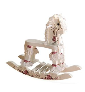painted wooden hors | ... :: Rocking Horses & Rocking Toys :: White Wood Floral Rocking Horse
