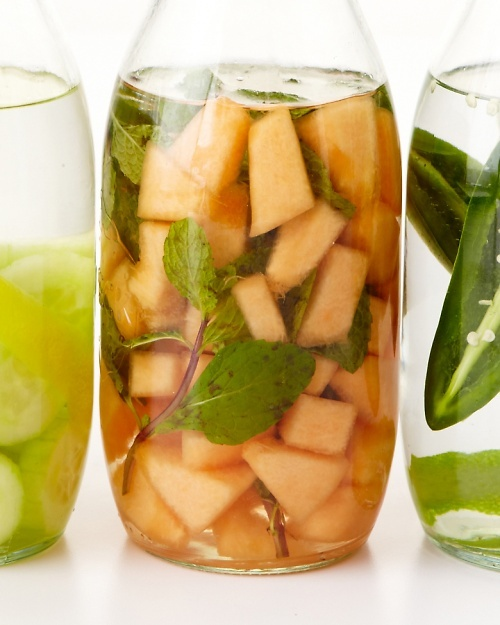 Melon-Mint Vodka.   Ingredients        2 cups diced cantaloupe      4 sprigs mint      500 ml vodka    Directions        Combine ingredients in a clean one-liter jar with a lid. Store in the refrigerator and shake daily for 4 days until infused, then strain and discard the solids.